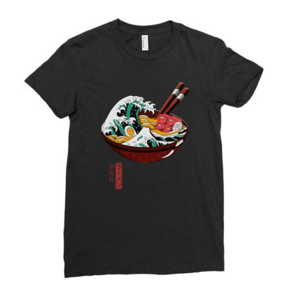 Great Ramen Wave Ladies Fitted T-shirt Designed By Gurkan