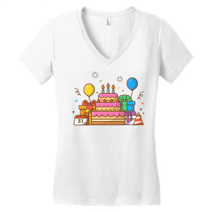 Gifts Box With Birthday Cake Party 2 Women's V-neck T-shirt Designed By Lenart