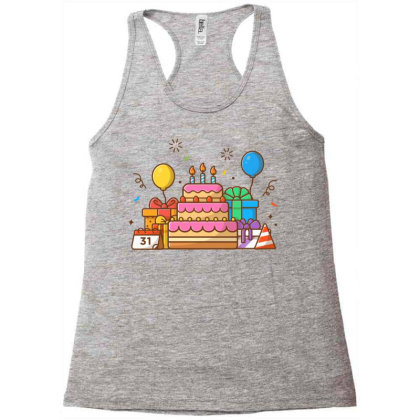 Gifts Box With Birthday Cake Party 2 Racerback Tank Designed By Lenart