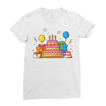 Gifts Box With Birthday Cake Party 2 Ladies Fitted T-shirt Designed By Lenart