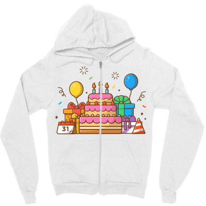Gifts Box With Birthday Cake Party 2 Zipper Hoodie Designed By Lenart