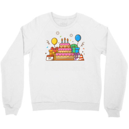 Gifts Box With Birthday Cake Party 2 Crewneck Sweatshirt Designed By Lenart