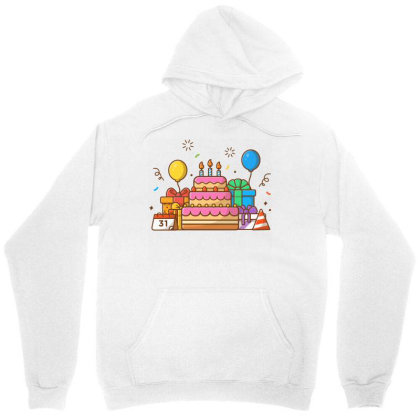 Gifts Box With Birthday Cake Party 2 Unisex Hoodie Designed By Lenart
