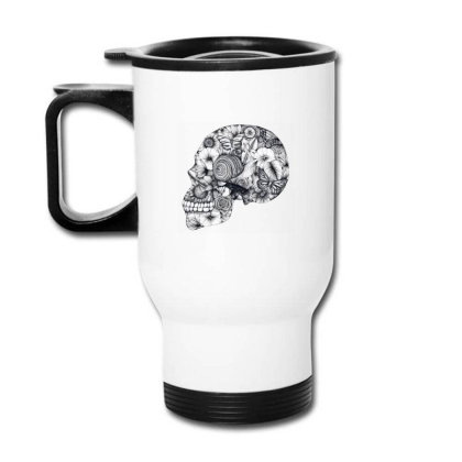 Beautiful Floral Jungle Skull Travel Mug Designed By Wukashart