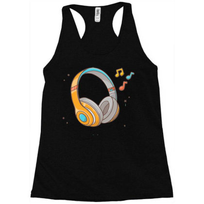 Headphone Listening Music With Tune And Note Music Racerback Tank Designed By Lenart