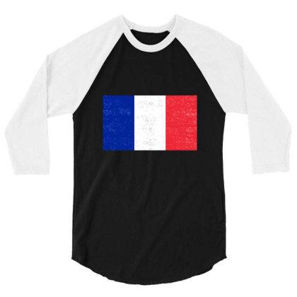 Grunge French Flag 3/4 Sleeve Shirt Designed By Alamy