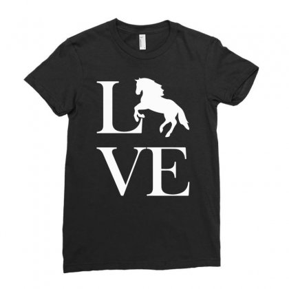 Horse Love Ladies Fitted T-shirt Designed By Mdk Art