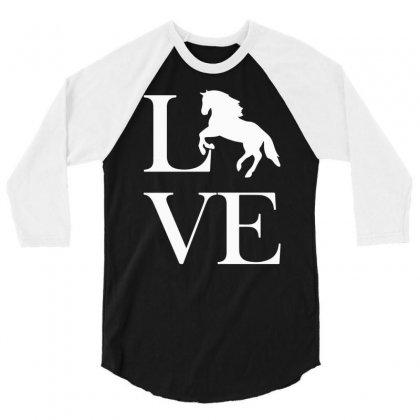 Horse Love 3/4 Sleeve Shirt Designed By Mdk Art