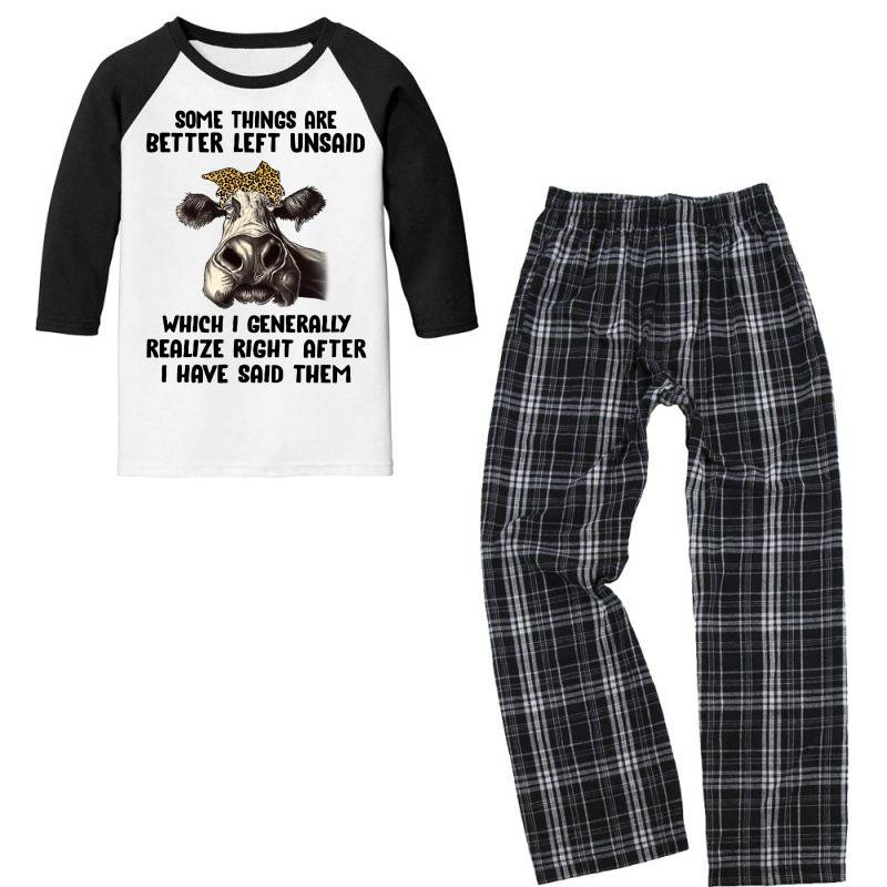 Some Things Are Better Left Unsaid Which I Generally Realize Right Aft Youth 3/4 Sleeve Pajama Set   Artistshot