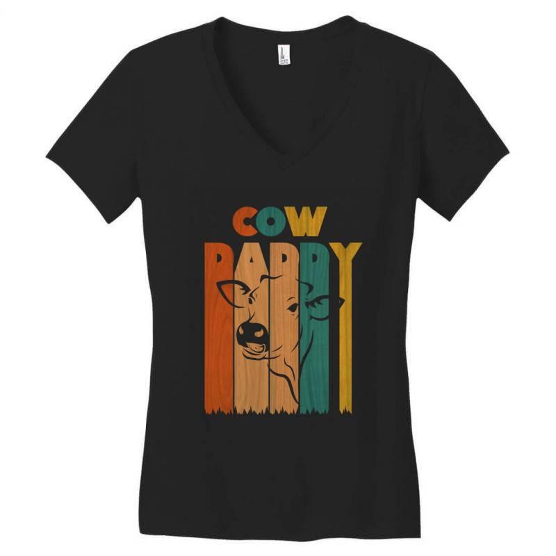 Cow Daddy Retro Vintage Women's V-neck T-shirt | Artistshot
