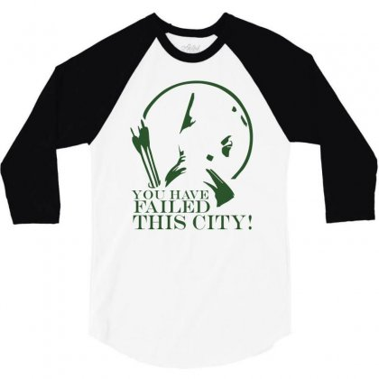 Arrow You Have Failed This City Tv Series Quote Black White Cotton T S 3/4 Sleeve Shirt Designed By Mdk Art