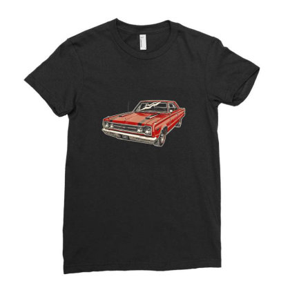 1967 Belvedere Gtx440 Muscle Car Ladies Fitted T-shirt Designed By R1m4