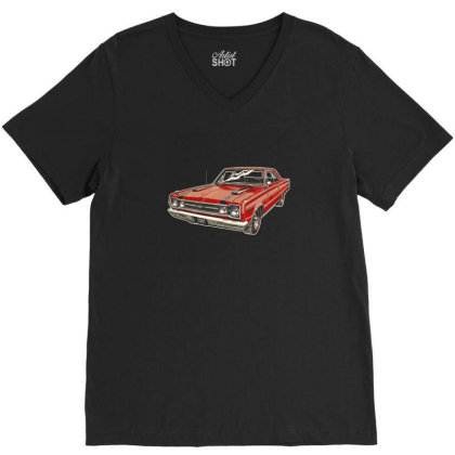 1967 Belvedere Gtx440 Muscle Car V-neck Tee Designed By R1m4