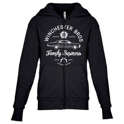Family Business   Winchester Bros   Occult Horror Youth Zipper Hoodie Designed By G3ry