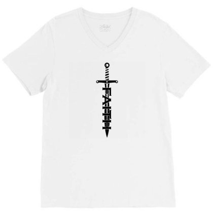 Faith Sword V-neck Tee Designed By G3ry