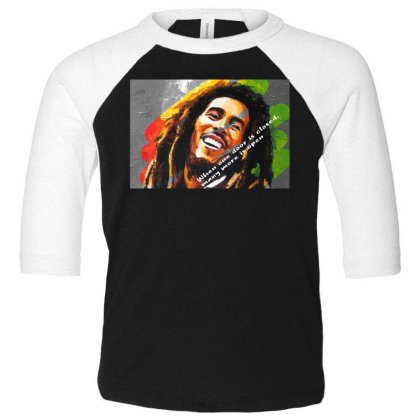 Bob Marley Toddler 3/4 Sleeve Tee Designed By Uniquetouch
