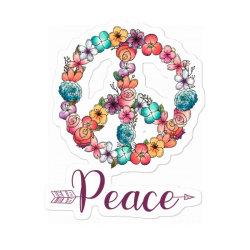 Peace Floral Sing Sticker Designed By Badaudesign