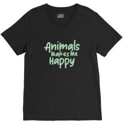 animals makes me happy V-Neck Tee   Artistshot
