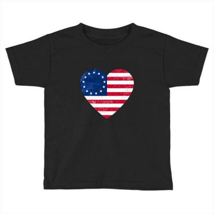 Distressed Betsy Ross Flag Heart  , Victory 1776 Toddler T-shirt Designed By Alamy