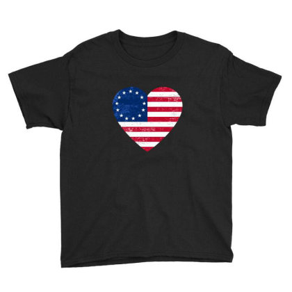 Distressed Betsy Ross Flag Heart  , Victory 1776 Youth Tee Designed By Alamy