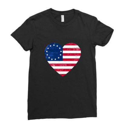 Distressed Betsy Ross Flag Heart  , Victory 1776 Ladies Fitted T-shirt Designed By Alamy