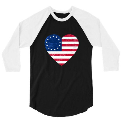 Distressed Betsy Ross Flag Heart  , Victory 1776 3/4 Sleeve Shirt Designed By Alamy