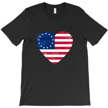 Distressed Betsy Ross Flag Heart  , Victory 1776 T-shirt Designed By Alamy