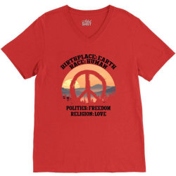 birthplace earth race human politics freedom religion love for light V-Neck Tee | Artistshot