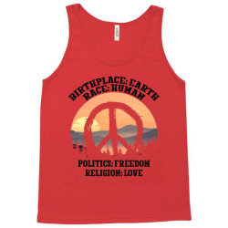 birthplace earth race human politics freedom religion love for light Tank Top | Artistshot