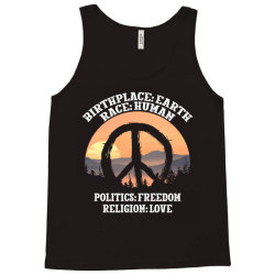 birthplace earth race human politics freedom religion love for dark Tank Top | Artistshot