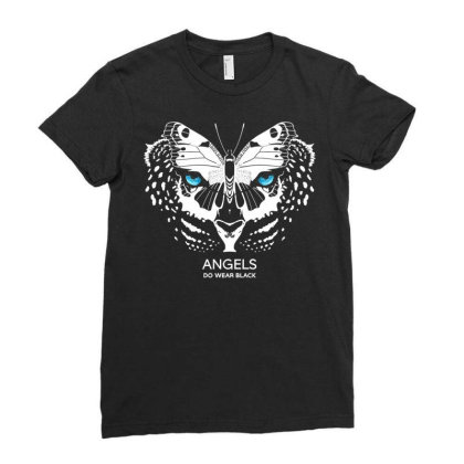 Angels Do Wear Black   Jonny Cota Studio Print Ladies Fitted T-shirt Designed By Amber Petty