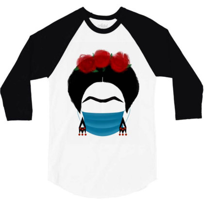 Frida Kahlo In Quarantine Mask 3/4 Sleeve Shirt Designed By Djelsomina