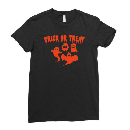 Trick Or Treat Funny Halloween Ladies Fitted T-shirt Designed By Ramateeshirt