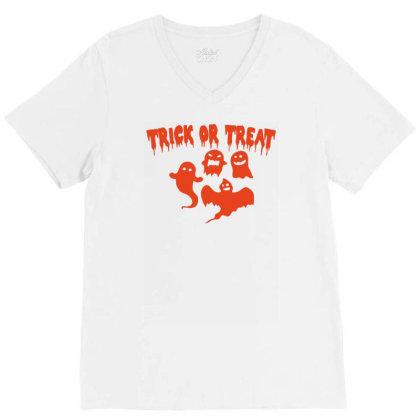 Trick Or Treat Funny Halloween V-neck Tee Designed By Ramateeshirt