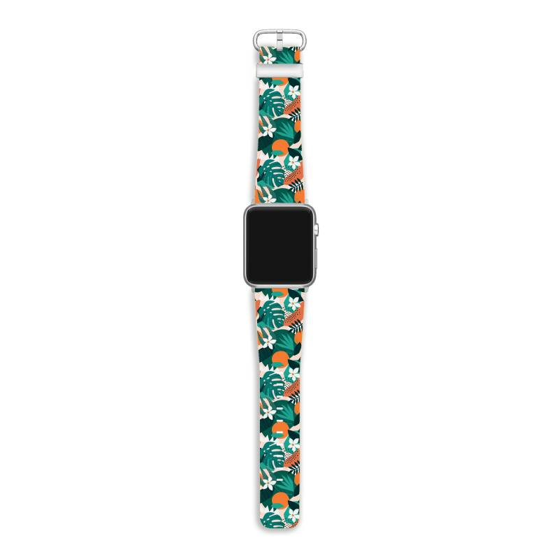 Oranges, Exotic Jungle Fruits And Plants Illustration In Vector. Apple Watch Band | Artistshot