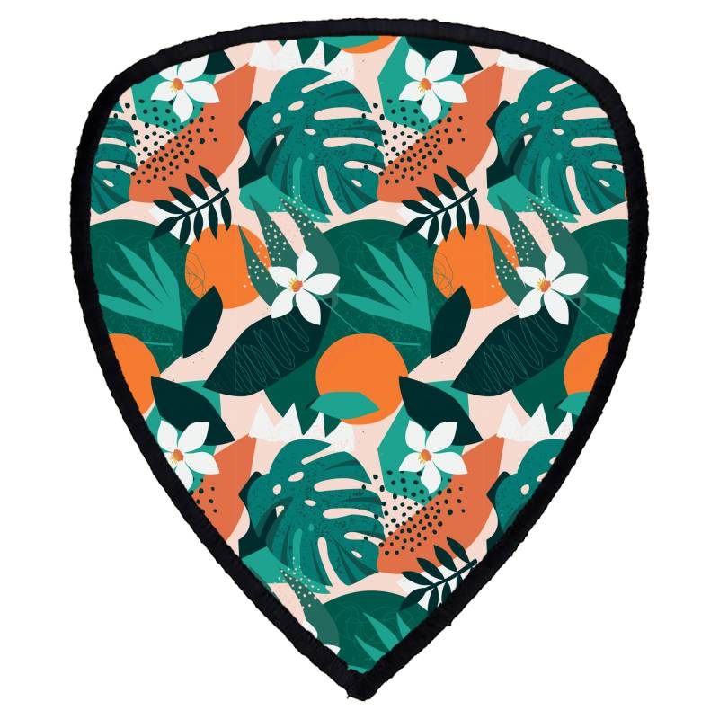 Oranges, Exotic Jungle Fruits And Plants Illustration In Vector. Shield S Patch | Artistshot
