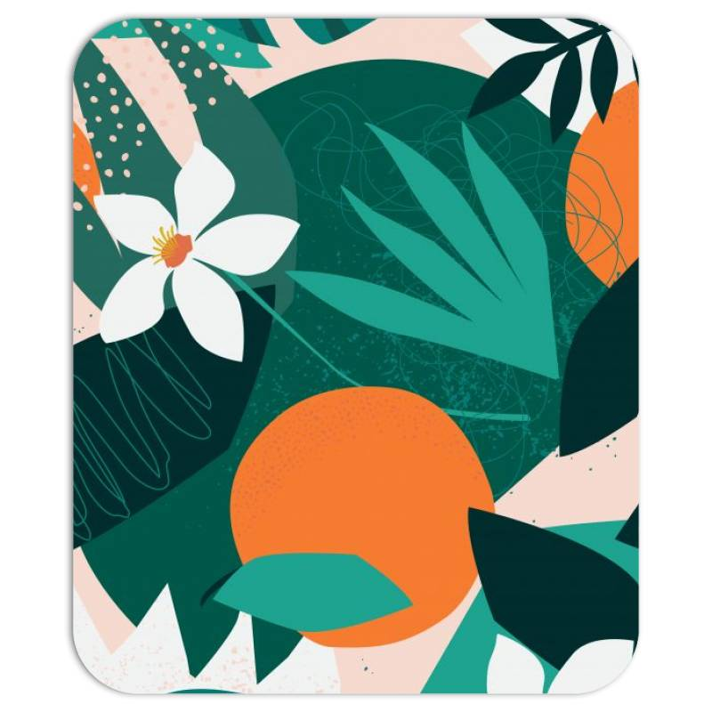 Oranges, Exotic Jungle Fruits And Plants Illustration In Vector. Mousepad | Artistshot