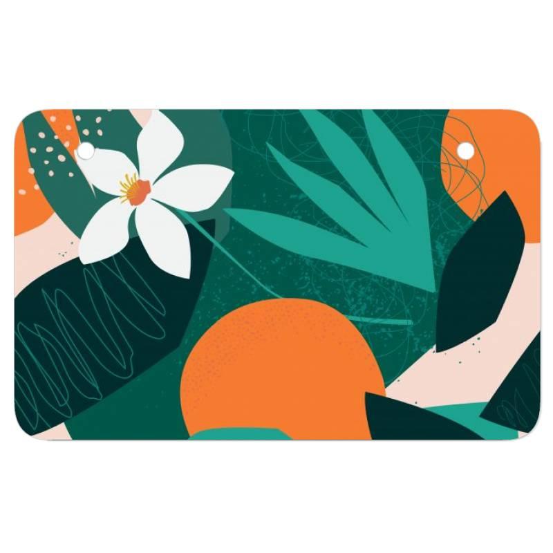 Oranges, Exotic Jungle Fruits And Plants Illustration In Vector. Atv License Plate | Artistshot