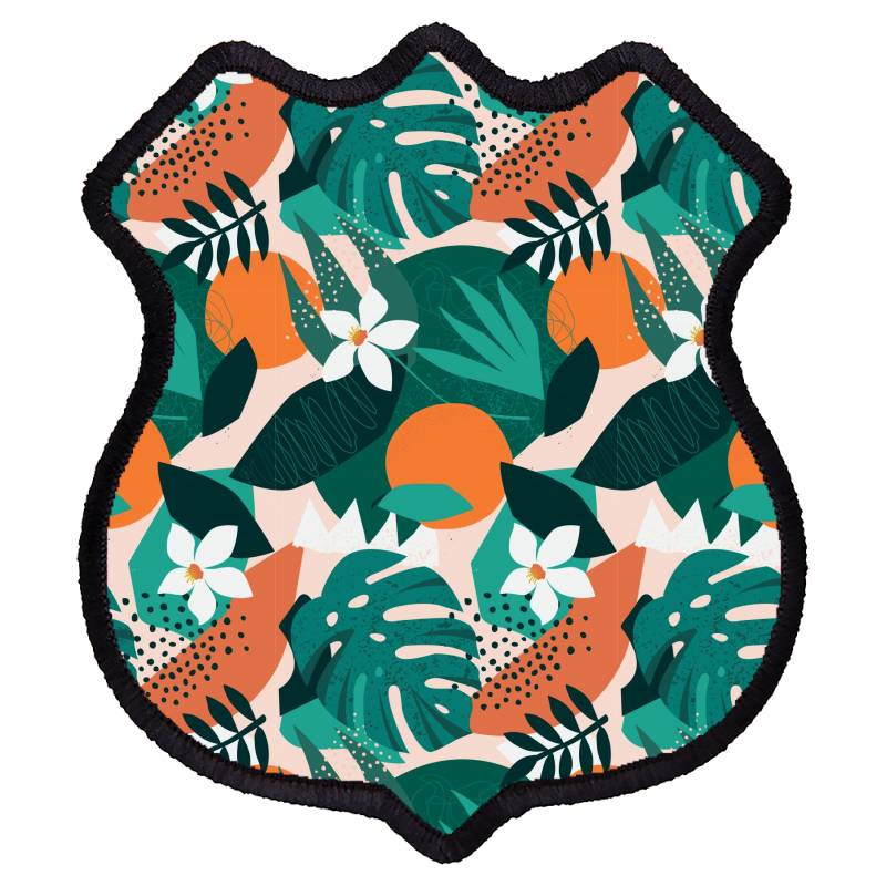 Oranges, Exotic Jungle Fruits And Plants Illustration In Vector. Shield Patch | Artistshot