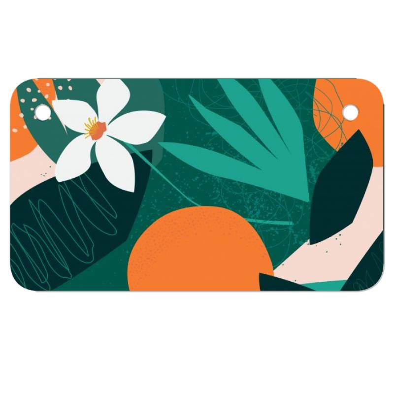 Oranges, Exotic Jungle Fruits And Plants Illustration In Vector. Motorcycle License Plate   Artistshot