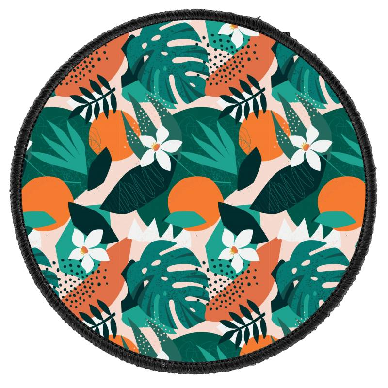 Oranges, Exotic Jungle Fruits And Plants Illustration In Vector. Round Patch | Artistshot