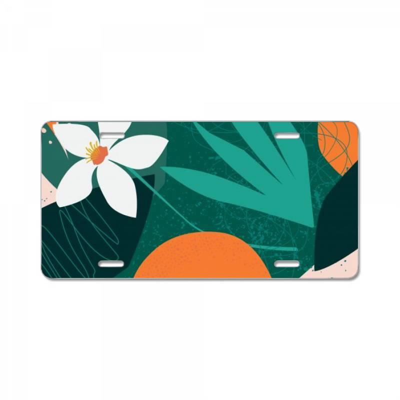 Oranges, Exotic Jungle Fruits And Plants Illustration In Vector. License Plate   Artistshot