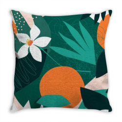 Oranges, exotic jungle fruits and plants illustration in vector. Throw Pillow | Artistshot