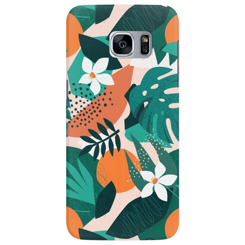 Oranges, Exotic Jungle Fruits And Plants Illustration In Vector. Samsung Galaxy S7 Edge Case | Artistshot