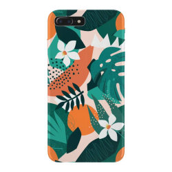 Oranges, exotic jungle fruits and plants illustration in vector. iPhone 7 Plus Case | Artistshot