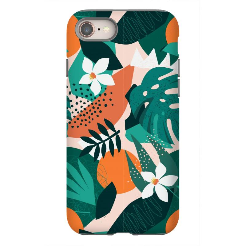 Oranges, Exotic Jungle Fruits And Plants Illustration In Vector. Iphone 8 Case | Artistshot