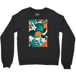 Oranges, exotic jungle fruits and plants illustration in vector. Crewneck Sweatshirt | Artistshot