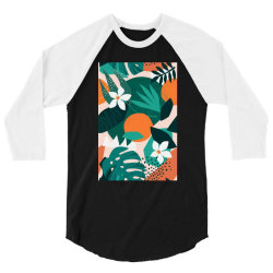 Oranges, exotic jungle fruits and plants illustration in vector. 3/4 Sleeve Shirt | Artistshot