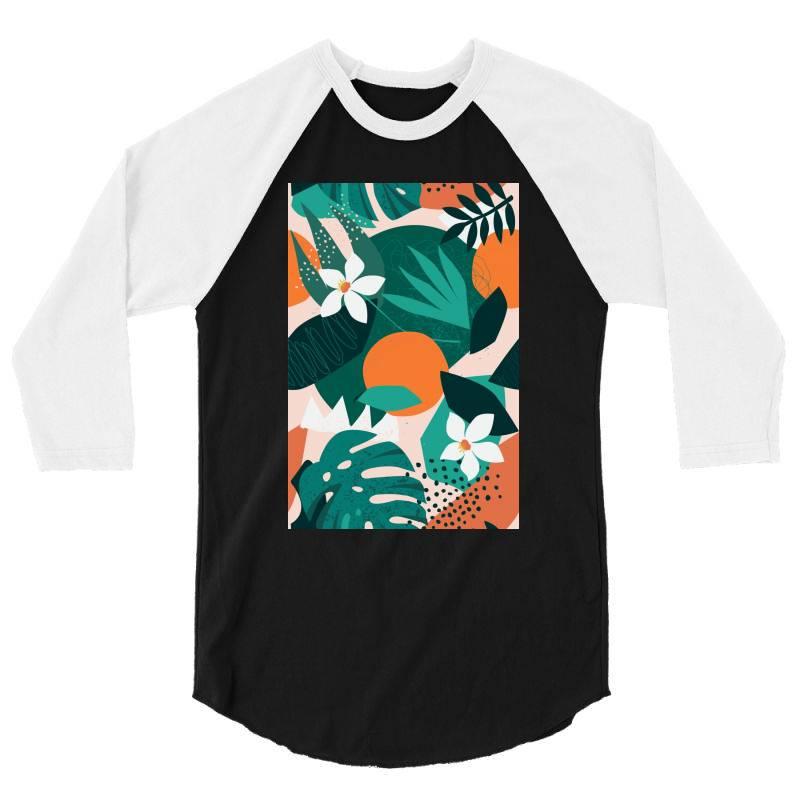 Oranges, Exotic Jungle Fruits And Plants Illustration In Vector. 3/4 Sleeve Shirt | Artistshot