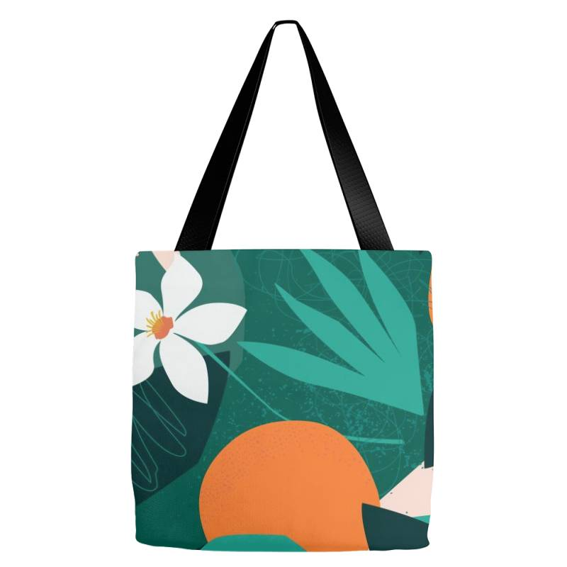 Oranges, Exotic Jungle Fruits And Plants Illustration In Vector. Tote Bags | Artistshot